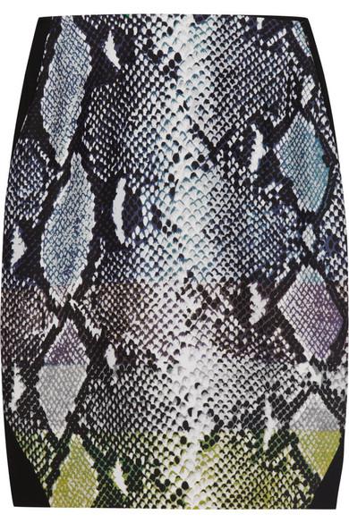 Diane von Furstenberg|Mae printed satin-paneled jersey skirt |NET-A-PORTER.COM