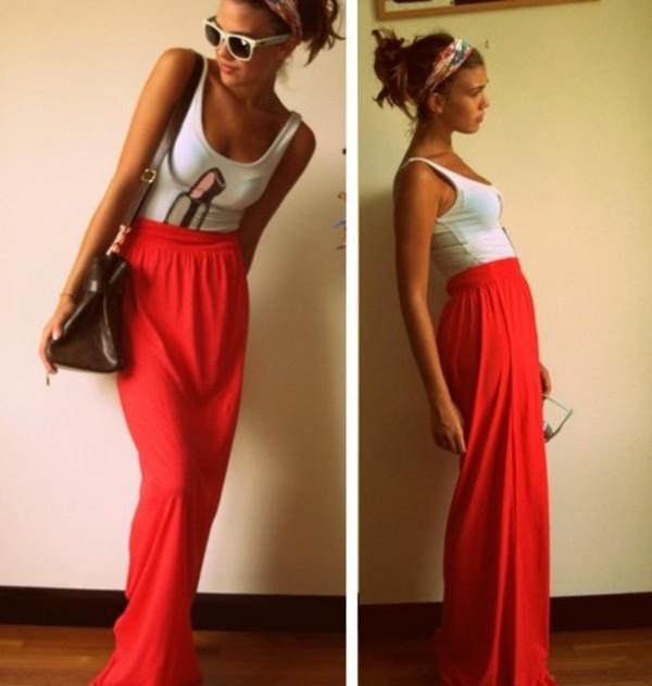 Skirt: red, maxi skirt, jersey - Wheretoget