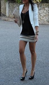 blouse,clothes,jacket,skirt,brand #howmuch  #wheretoget,white blazer,aztec shirt,jewelry.,dress,aztec skirt,neutrals,mini skirt