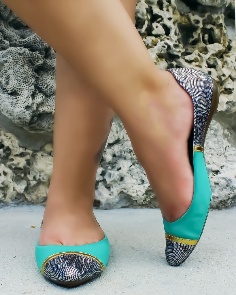Multi Flats - Mint Silver and Black Flats | UsTrendy