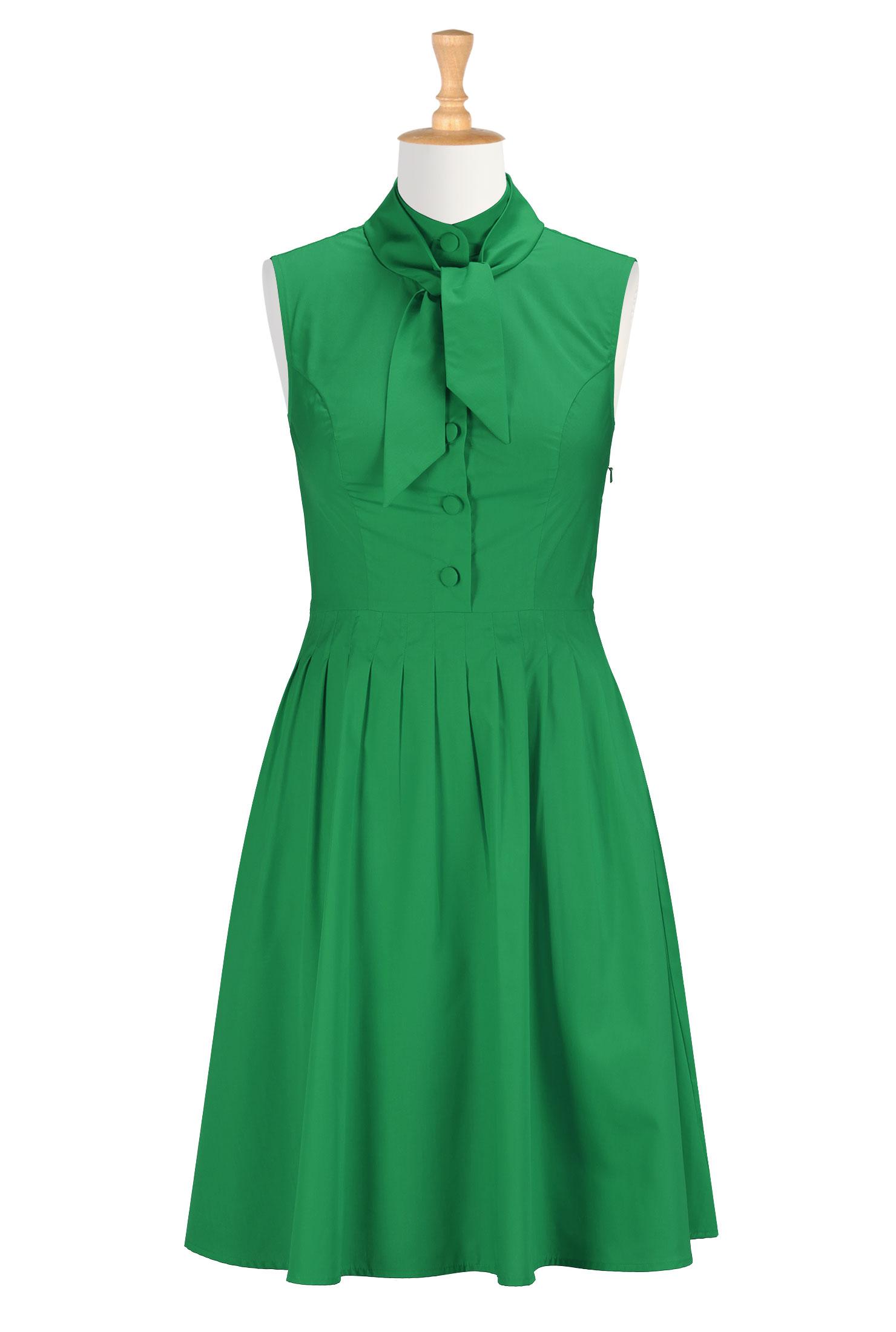 Tie neck poplin dress
