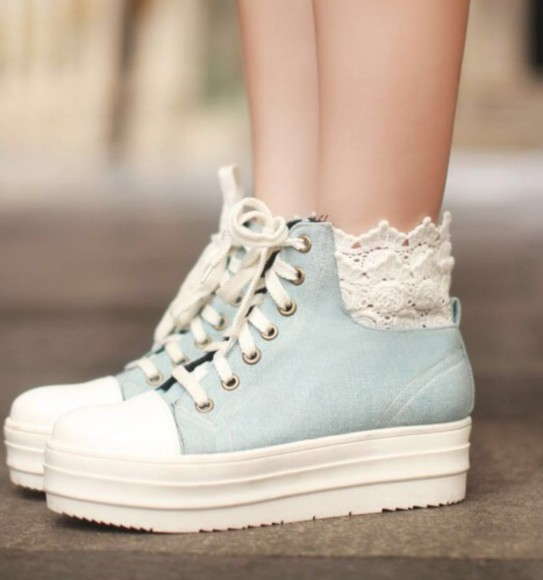 baby blue lace-up shoes hightops cream