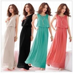 2014 New Summer Bohemian Women Chiffon Ankle-Length Long Dresses Sleeveless Vest Dress Vestidos, 4 Color, S, M, L, XL | Amazing Shoes UK