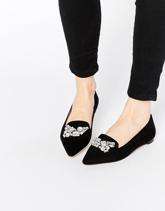 shoes loafers black shoes embellsihed london rebel smoking slippers embellished french girl style