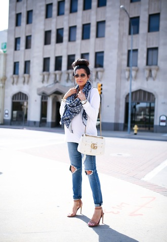 blogger thesweetestthing sweater jeans shoes scarf sunglasses jewels bag louis vuitton scarf louis vuitton gucci gucci bag spring outfits sandals white sweater