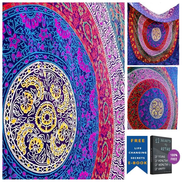 Indian Hippie Ethnic Bohemian Psychedelic Multi-Color Mandala Handmade Tapestry