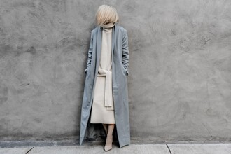 figtny blogger coat sweater shoes sunglasses grey coat midi dress fall outfits winter outfits long coat sock boots ankle boots