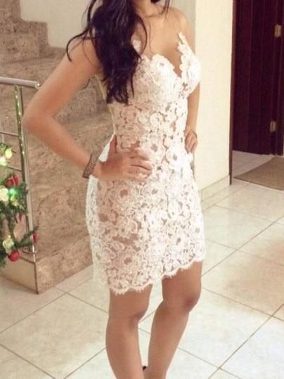 Nextshe 2014 seductive white crochet lace tulle splice sheer back strapless dress
