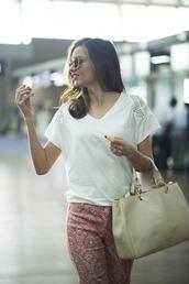 pants,t-shirt,bag,classy,sunglasses,leggings,print,red