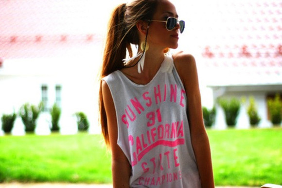 shirt sunshine top pink tank top white california
