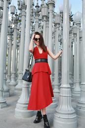 style scrapbook,blogger,peplum dress,red dress,cut out ankle boots,dress,bag,shoes,sunglasses