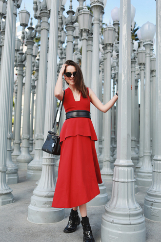 style scrapbook blogger peplum dress red dress cut out ankle boots