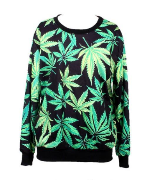 Marijuana Floral Print Casual Pullover Sweatshirt