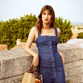 dress,jeanne damas,denim,denim dress,blue dress,bag,woven bag,summer dress