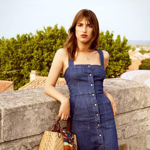 dress jeanne damas denim denim dress blue dress bag woven bag summer dress