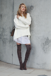 ohh couture,blogger,suede boots,thigh high boots,oversized sweater