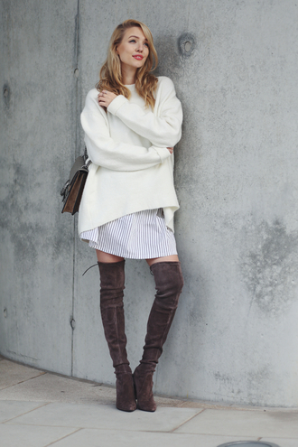 ohh couture blogger suede boots thigh high boots oversized sweater