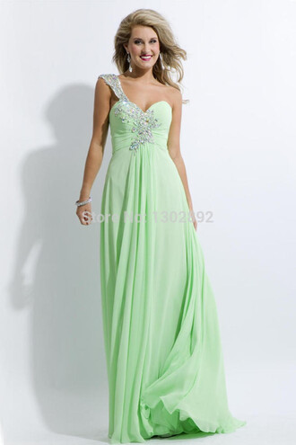 one shoulder sweetheart dresses mint long prom dress chiffon party dresses