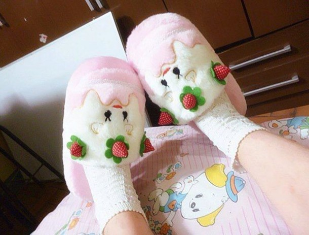 house slippers cake pastel pink cute shoes slippers cute strawberry