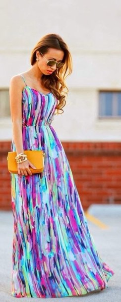 Dress: pinterest colorful dress maxi dress maxi summer jewels ...