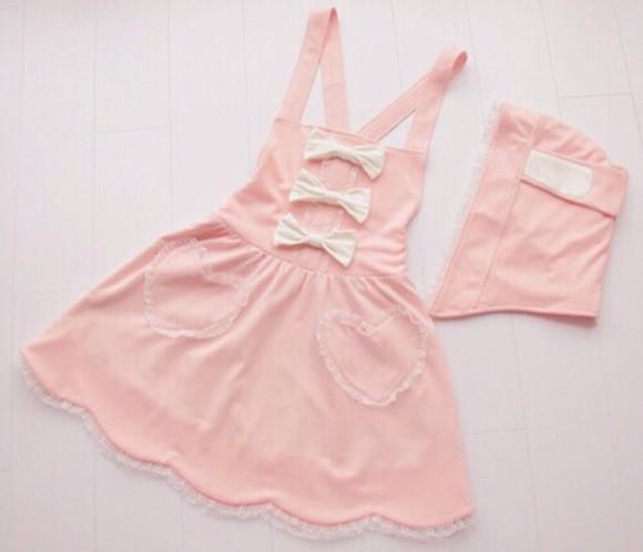 pink dress cute bow dress pastel goth ulzzang