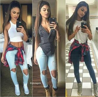 jeans blue ripped jeans ripped light jeans light blue jeans cute summer fashion style white red black tank top