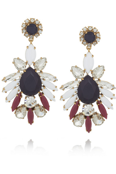 J.Crew | Persian Leaves gold-tone crystal earrings | NET-A-PORTER.COM