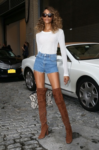 jourdan dunn streetstyle streetwear thigh high boots knee high boots suede boots brown leather boots brown boots fall outfits model off-duty