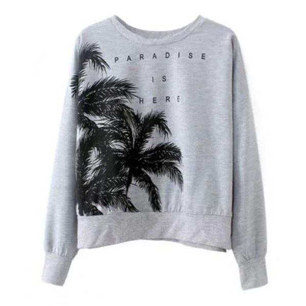 gray sweatshirt palm print shirt fall outfits