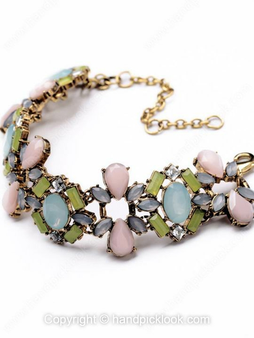 Pink Gemstone Fashion Beaded Bracelet - HandpickLook.com