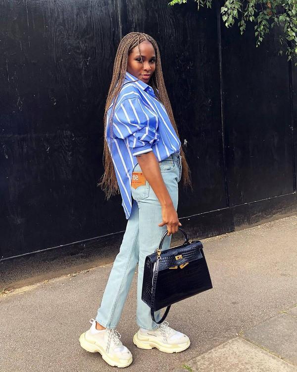 shirt blue shirt stripes jeans denim pants sneakers bag