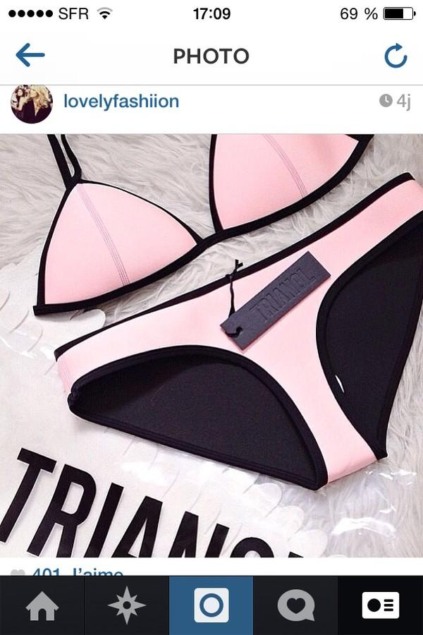 swimwear black pink