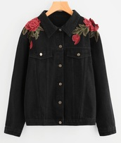 jacket,embroidered,girly,black,denim jacket,denim,rose,roses,button up
