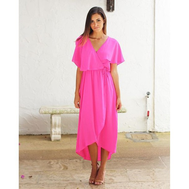 685b52a14b99 dress pink hot pink neon neon pink fuchsia maxi maxi dress pink dress  summer summer dress