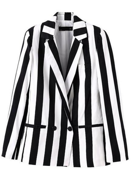 pocket classic black & white vertical striped notch lapel boyfriend blazer blazer single button