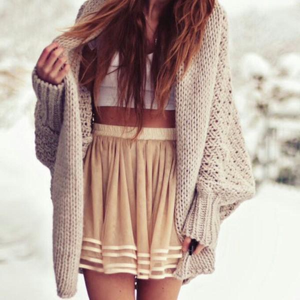 sweater skirt cardigan thick sweater knitted cardigan komono big clutch