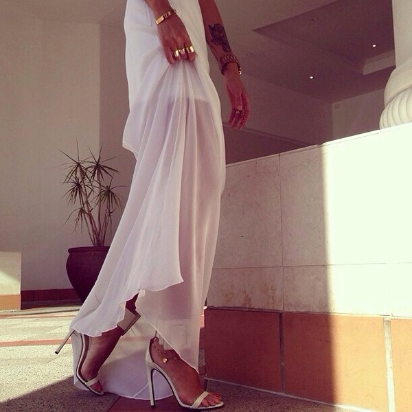dress white transparent classy long dress summer outfits heartit jewels shoes