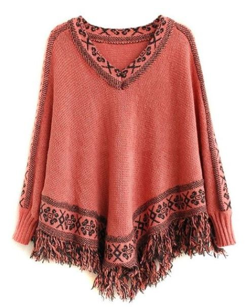 Coral and Black Bat Cape Top with Tassel Hem
