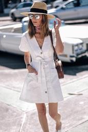 dress,spring dress,sunglasses,hat,bag,spring outfits,wrap dress,mini dress,white dress,mirrored sunglasses