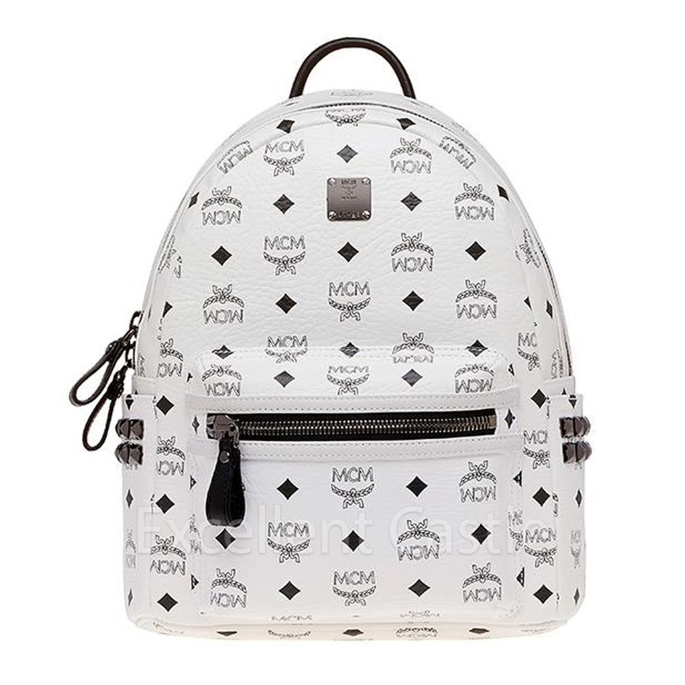 2014 New Genuine MCM Small Stark Visetos Backpack - White Color | eBay