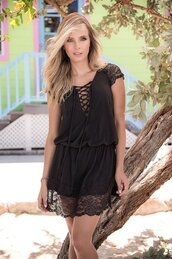 dress,mapalé,lace up dress,sweet,black,lace up front,draped back,loose fit knit,bikiniluxe
