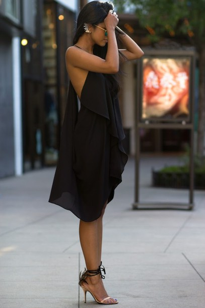 Dress: black dress, halter dress, tie back, black, tumblr ...