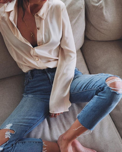 Blue jeans white shirt tumblr