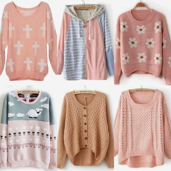 cute grey hoodie jacket blue pink knit pastel