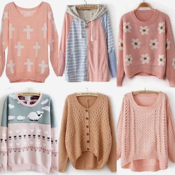jacket pink hoodie cute knit pastel blue grey peach sweater cross coral button up cardigan short zip sheep loose shirt
