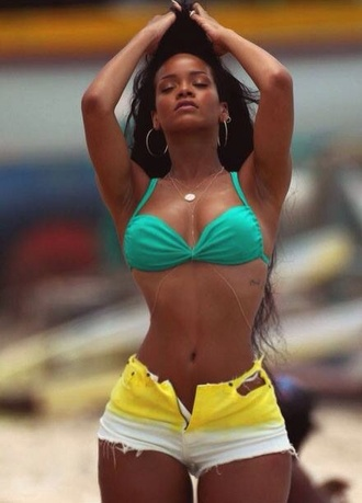 shorts rihanna yellow yellow shorts sexy shorts white and yellow high waisted shorts jewels brown skin babe beach body tie dye white green bikini bikini top body chain chain hairstyles earrings beach rihanna swimsuit body instagram curly hair slim fit