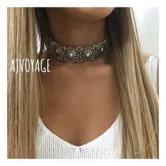jewels silver coin festival choker necklace necklace summer music festival boho choker jewelry boho jewelry metal choker silver choker coachella boho bohemian silver necklace boho chic