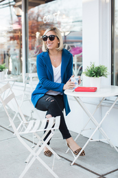 lemon stripes,blogger,jacket,t-shirt,jeans,shoes,flats,blue jacket,black jeans