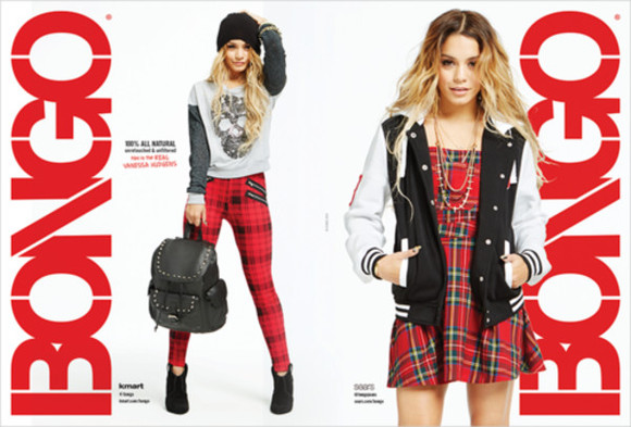grunge edgy vanessa hudgens girly flannel dress red dress jacket varsity jacket black and white cool grungy rock