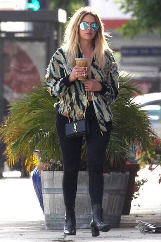 jacket bomber jacket streetstyle ashley benson sunglasses